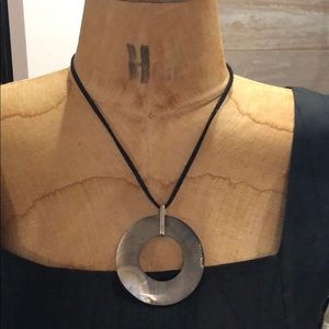 Mother of pearl leather sterling necklace